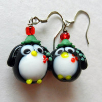 Christmas Penguin Glass Dangle Earrings