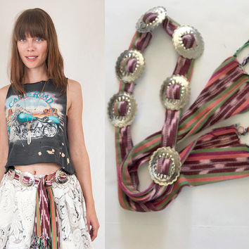 Vintage Southwestern Concho Fringe Belt | Pink Purple Green Aztec Textile Sash with Large Silver Western Conchos | Navajo Hippie Boho Chic