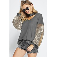 Thermal Waffle Knit Top with Sequins Balloon Sleeves - Charcoal