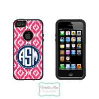 Otterbox Commuter Apple iPhone 5 5s Personalized Cell Phone Case Custom Color Ikat Initial Circle Monogram Protective Hard Cover OB-1047