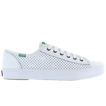 Keds Kickstart - White Perforated Leather Lace-Up Sneaker