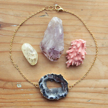 Gold Druzy Crystal Choker - Large Natural Stone Gemstone Necklace Raw Pendant Rough Coated Dipped Agate Slice Short Chunky Quartz Bohemian