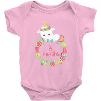 Unicorn Milestone Infant Bodysuit 3 Months