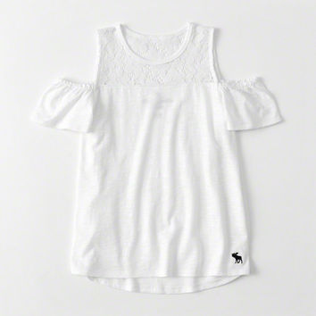 girls lace-panel cold-shoulder tee | girls clearance | Abercrombie.com