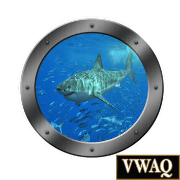 Great White Shark Wall Decal Ocean Graphics Kids Room Décor Underwater Mural VWAQ® PO12