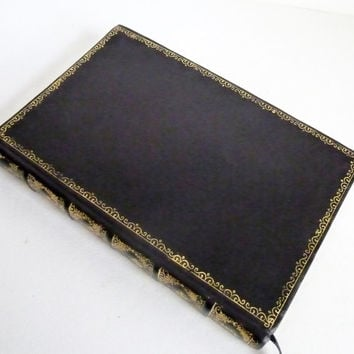 Custom Black Leather Antiqued Writing Journal Diary Goatskin Gilded with Personalization