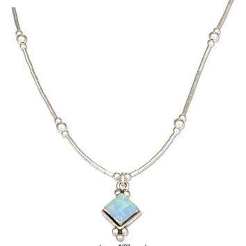"""Sterling Silver 16"""" Liquid Silver And Diamond Shape Synthetic Blue Opal Necklace"""