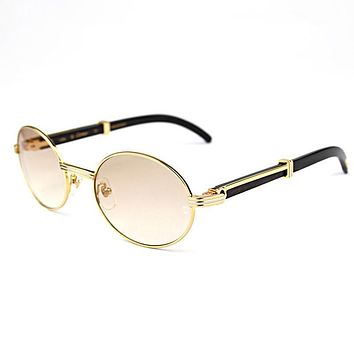 Retro Carter Sunglasses Round Glasses Frame Wood Eyeglasses Carter Glasses Men Sunglasses for Men Gold Frame Eyewear Accessories