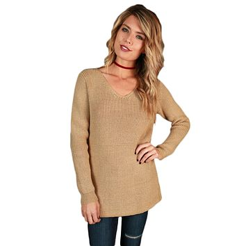 Chicloth Khaki Never Look Back Lace Up Sweater