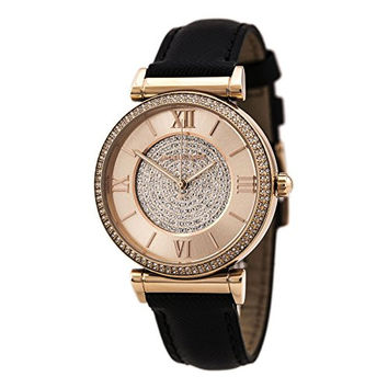 Michael Kors Watches Catlin Leather Watch (Black)