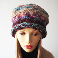 Slouchy beanie - Ready to ship - Multicolor knit tam - Blue & burgundy crochet beret - Chunky knit hat - Woman warm hat - Fashion knit hat