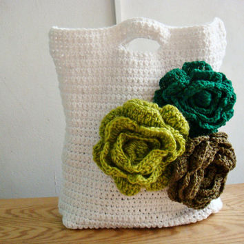 Crochet PDF PATTERN Storage Bag Tote Diaper Bag Flower Purse 239
