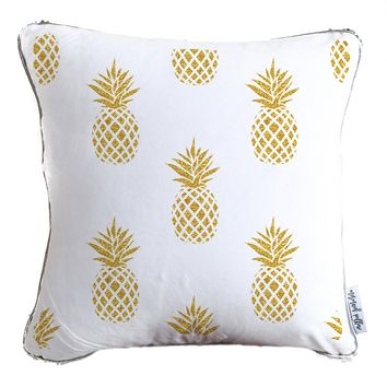 Gold Pineapples Throw Pillow w/ Reversible Gold & White Sequins - COVER ONLY (Inserts Sold Separately)