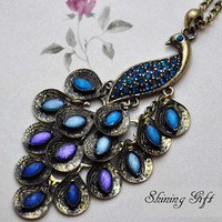 Vintage style peacock necklace, with blue crystal peacock feathers