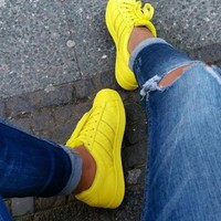 """""""Adidas"""" Shell-toe Sneakers Sport Shoes Pure Color Flats"""