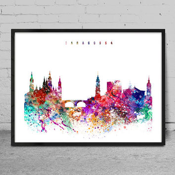 Saragossa Art Print, Poster, Wall art, Saragossa Spain  skyline, City poster, Skyline art, Home Decor, Digital Print-x05