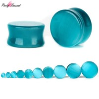 Partyfareast Cat Eye Ear Expansion Ear Plugs Flared Women Stone Ear Plugs And Tunnels Jewelry Body Piercing Ear Expansions