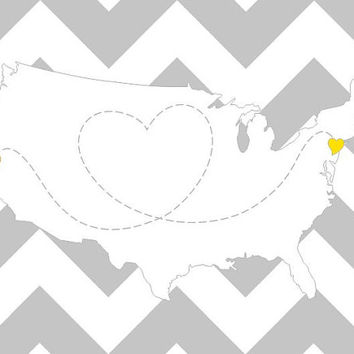 ANY LOCATION Long Distance Love Map, 11x14 Shown in Grey and Yellow with Chevron Stripes, San Francisco to New York