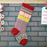 Hand Knit Christmas Stocking with Claret Red Cuff, Heather Snowflakes and Green Trees, Fair Isle Stocking, can be personalized