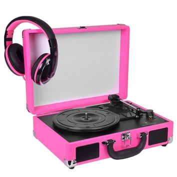 Innovative Technology 3-Speed Vintage Suitcase Turntable w-Built-in Stereo Speakers & Matching Headphones (Pink)