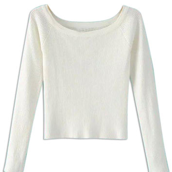 White Long Sleeve Knitted Crop Top