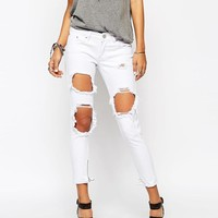 Liquor & Poker | Liquor & Poker Skinny Jeans With Extreme Distressing Ripped Knees at ASOS