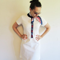 Vintage 60s 70s White/ Off White Mod Rose Shift Sheath Dress