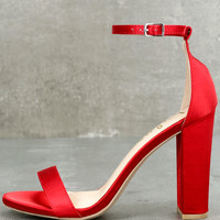 Taylor Red Satin Ankle Strap Heels