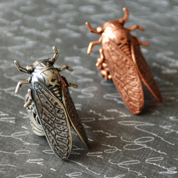 Cicada Ring, Locust Ring, Goth Ring, Insect Jewelry, Bug Jewelry, Silver Cicada