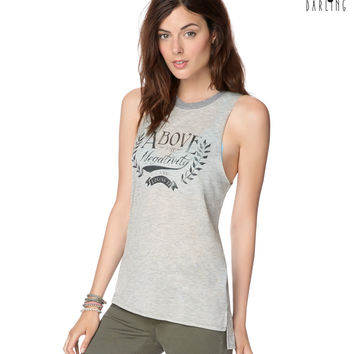 Womens Tokyo Darling Loving It Muscle Tank Top - Gray
