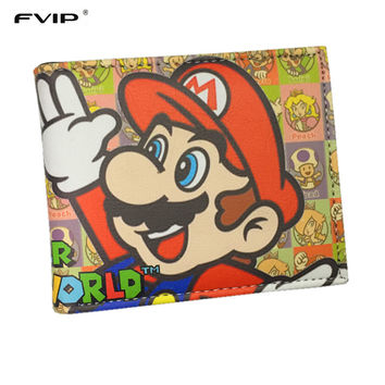 FVIP Super Mario World Wallets Cute Cartoon Comics Purse Student Nintendo Game Super Mario Figures Wallet Credit Card Holder