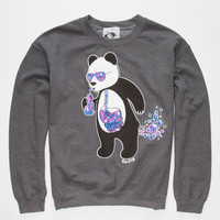 Riot Society Panda Bubbles Mens Sweatshirt Charcoal  In Sizes