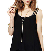 Black Strappy Chiffon Cut Out Back Cami