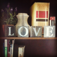 Love Sign, Freestanding Sign, Desk Sign, Shelf Sign, Black and White Hand Painted Love Wooden Letters Sign
