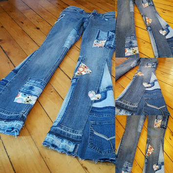 Bell Bottoms Patch worked THEME Denim Jeans Custom Made Size 7