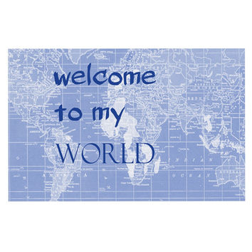 "Catherine Holcombe ""Welcome to my World Quote Indigo"" Decorative Door Mat"