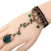 Yazilind Lolita Green Rose Branch Shape Crystal Metal Black Lace Slave Bracelets with Ring