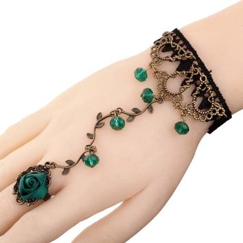 YAZILIND Jewelry Noble Lolita Green Rose Branch Shape Crystal Metal Black Lace Slave Bracelets with Ring Wedding Party for Women