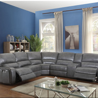 Saul Leather-Aire Power Sectional Sofa
