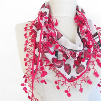 Christmas gift -Cherry scarves-Guipure Scarf-Cotton scarf-pink scarf - asuhan