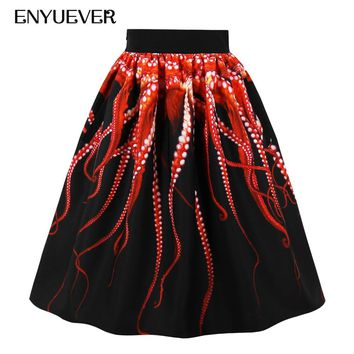 Enyuever Midi Gothic Octopus Tentacle Skirt Punk Steampunk Pattern Streetwear Pleated Rokken Pockets High Waist Skirts Womens