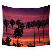 Society6 Sunset Over Hollywood Wall Tapestry