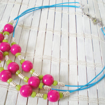 Neon Fashion Bead Necklace Magenta by RetroRevivalBoutique on Etsy