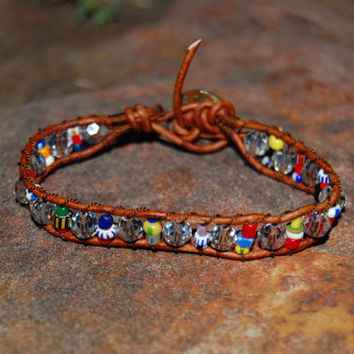 Stackable Bracelet.  Christmas African Trade Beads Leather Bracelet. Swarovski Crystal Leather Wrapped Bracelet.