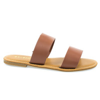 Seashore62s Tan Pu by Bamboo, Tan Women's Flat Strappy Sandal w Double Strap & Adjustable Ankle Strap