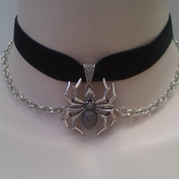 Large 3D SPIDER Charm With CHAIN BLACK 16mm Velvet Ribbon Choker Necklace -qh... or choose another colour velvet from a wide choice