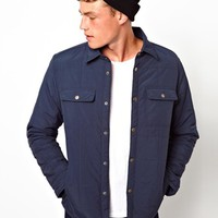 ASOS Jacket In Quilted Fabric - Navy