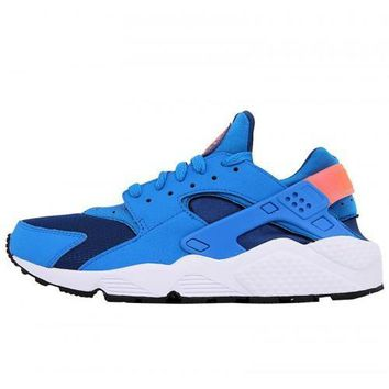 Men s Nike Air Huarache Run Running Shoes Gym Blue Photo Blue Bright Mango