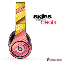 Pink & Yellow Slanted Straws Skin For The Beats by Dre Studio, Solo, Pro, Mix-R or Wireless