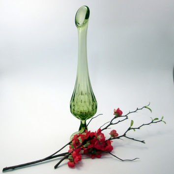 Vintage Light Lime Green Tall Bud Vase - pressed glass - approx 1950s - summer/fall home decor